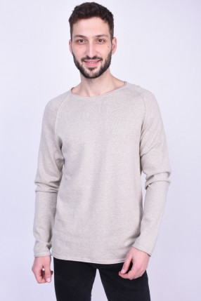 Pulover JACK&JONES Jjeunion Knit Crew Neck Oatmeal