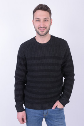 Pulover JACK&JONES Jorredding Knit Crew Neck Dark Grey Melange
