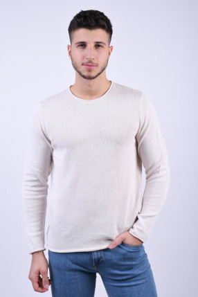 Pulover JACK&JONES Linen Crew Neck Jet Steam
