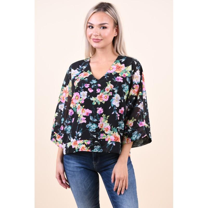 Bluza Jacqueline De Yong Gilly 7/8 Black Flower