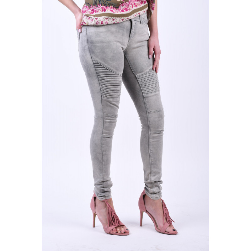 Blugi NOISY MAY Eve Biker Light Grey Denim Superslim