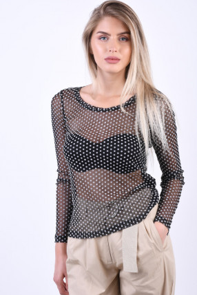 Bluza Semitransparenta OBJECT Louis Jersey Negru
