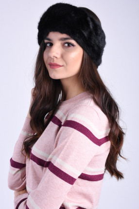 Canadiana Pufoasa PIECES Fur Negru