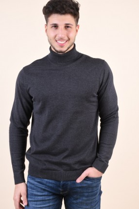 Pulover Pe Gat SELECTED Tower Silk Roll Neck Gri Inchis