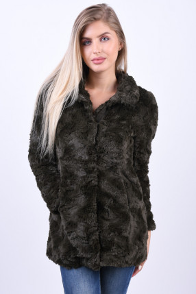 Geaca Pufoasa VERO MODA Curl High Neck Faux Fur Peat
