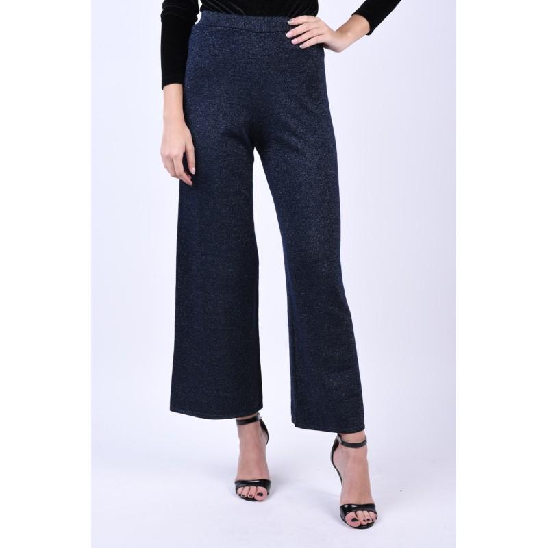 Pantaloni Lurex Evazati Vero Moda Tinsel Bleumarin