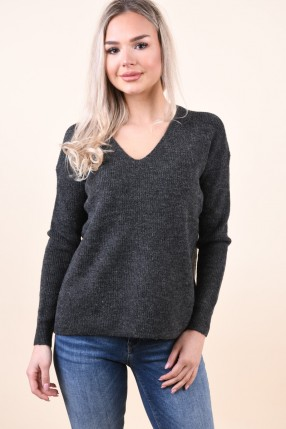 Pulover VERO MODA Blakely Iva V-Neck Rib Dark Grey Melange