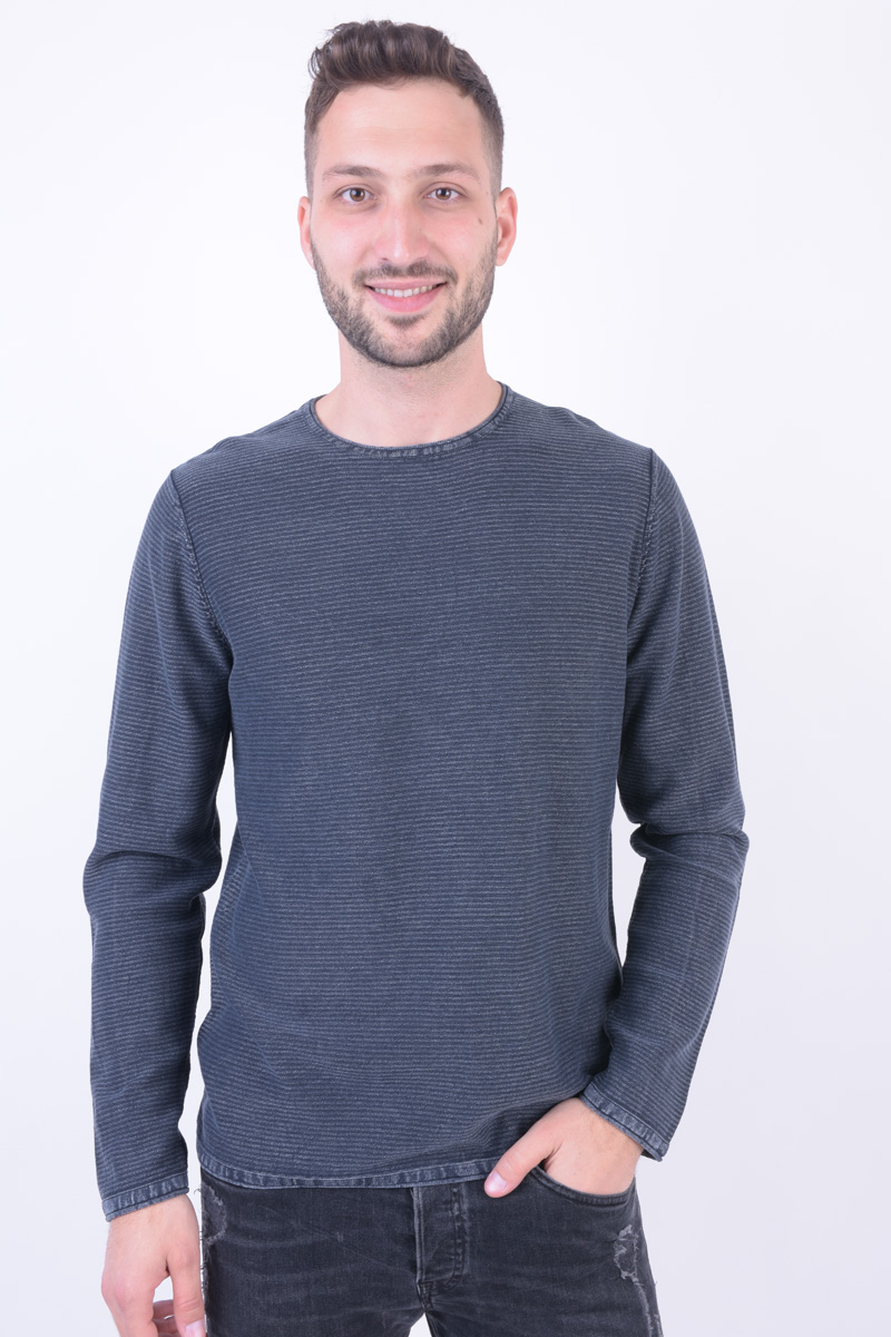 Pulover JACK&JONES Jorlaundry Knit Crew Neck Total Eclipse