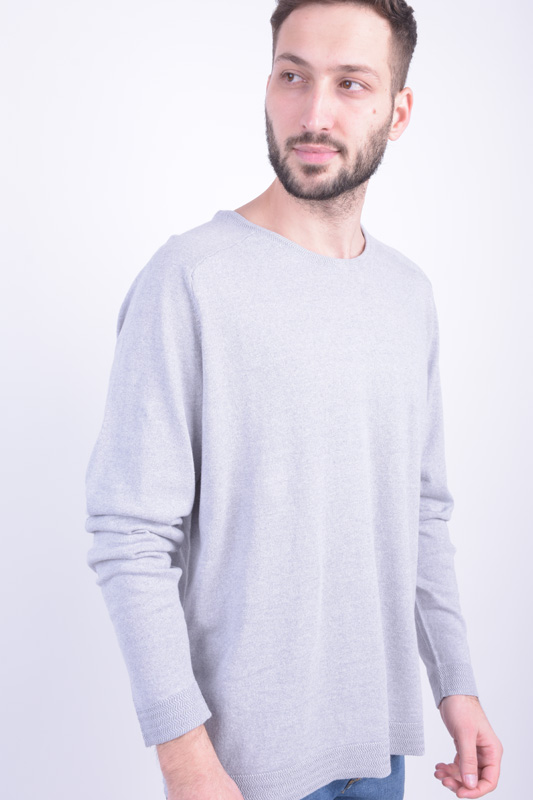 Pulover JACK&JONES Jpribe Krew Neck Cool Grey