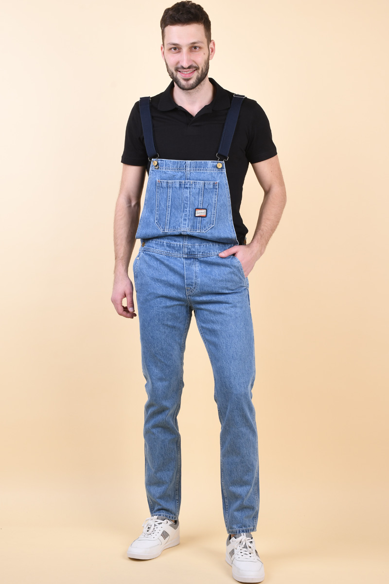 Blugi JACK&JONES Mike Dungaree Am185 Blue Denim