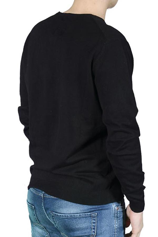 Pulover Bumbac Premium JACK&JONES Ingvar V-neck Negru