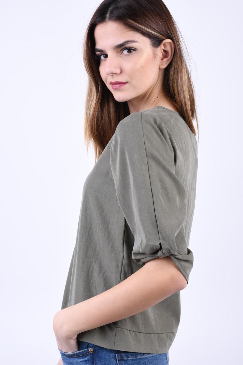 Bluza Lyocel NOISY MAY Kira 3/4 Kaki