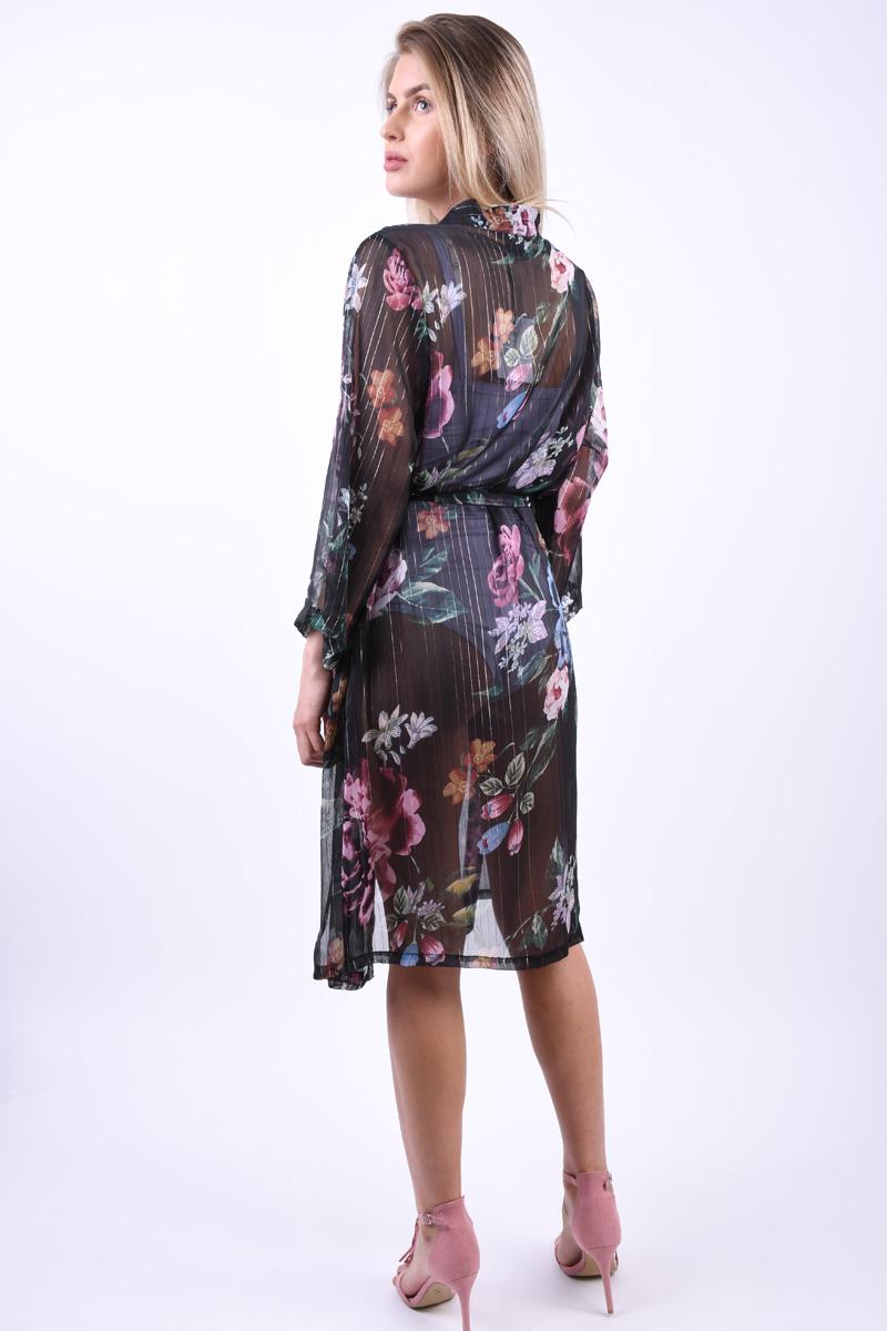 Kimono Floral OBJECT Ana 3/4 Negru