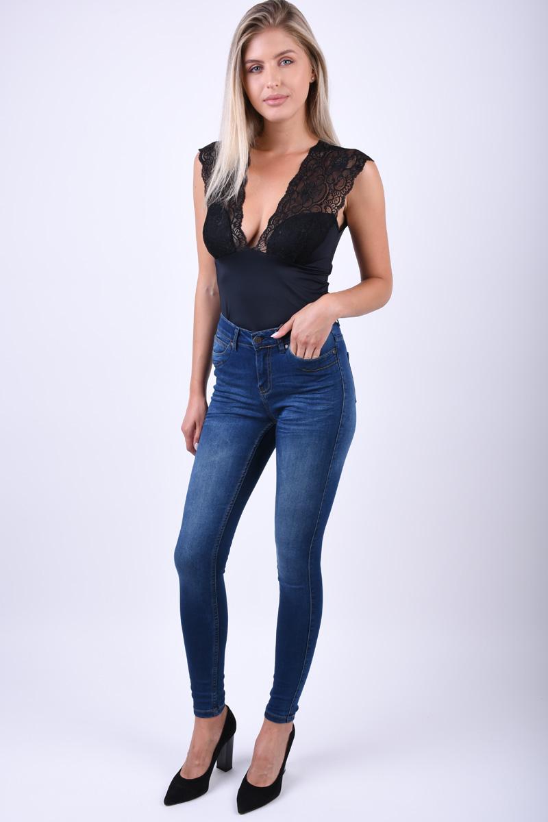 Blugi Skinny OBJECT Sophie Obb251 Albastru Inchis