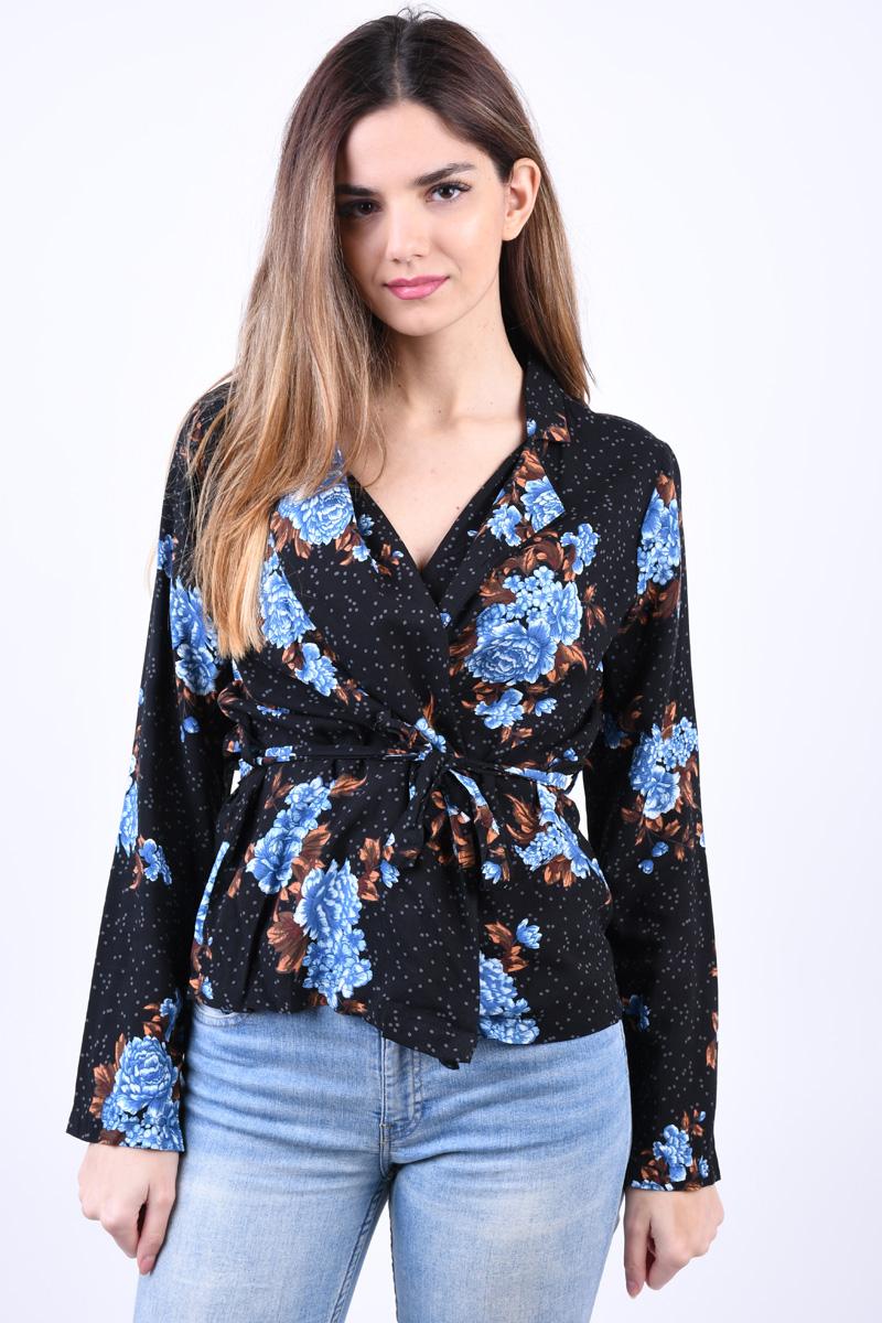 Kimono Floral OBJECT Kelly Throwover Negru