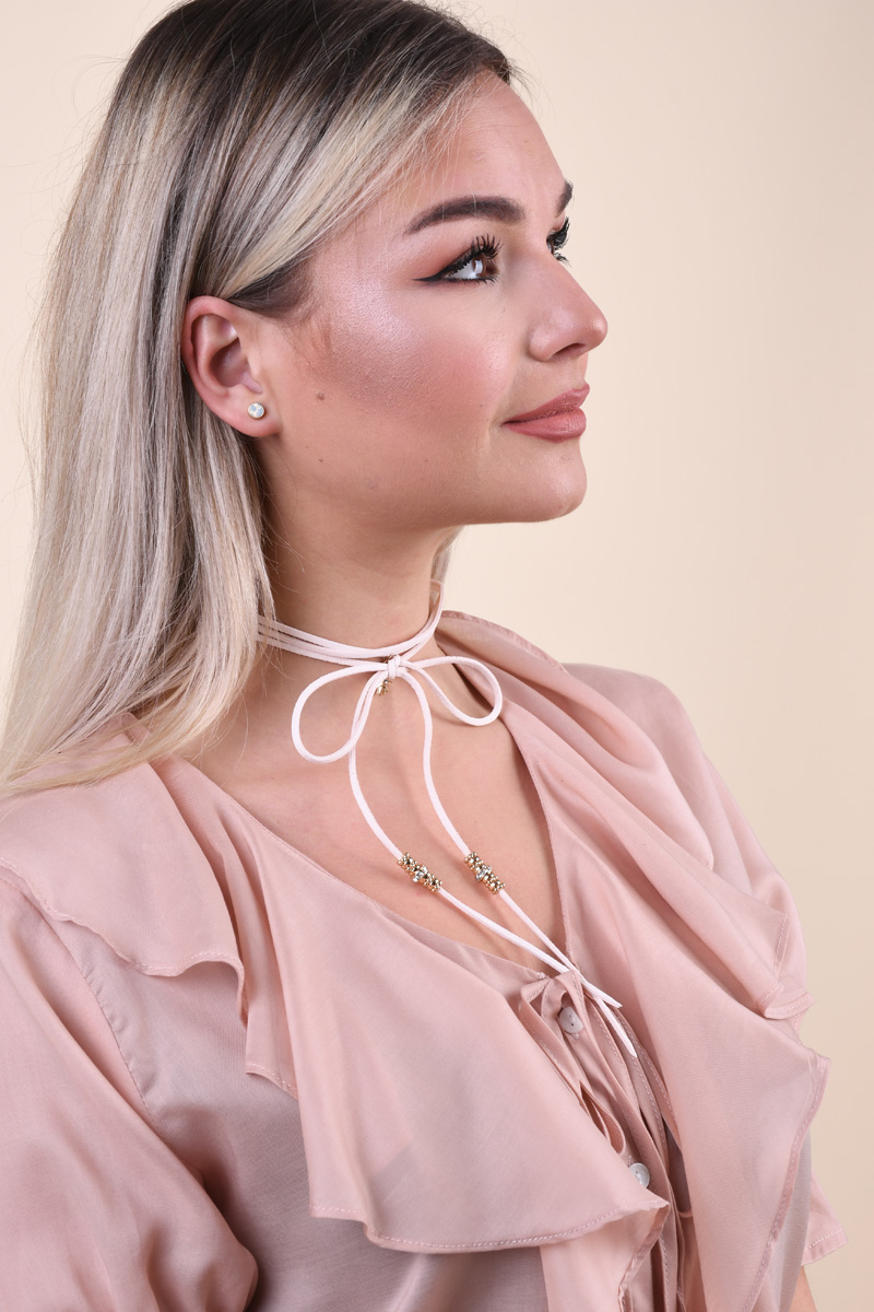 Colier PIECES Pcgyros Choker Rose Dust