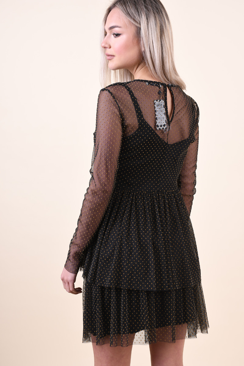 Rochie PIECES Olea Mesh Black Gold Dots