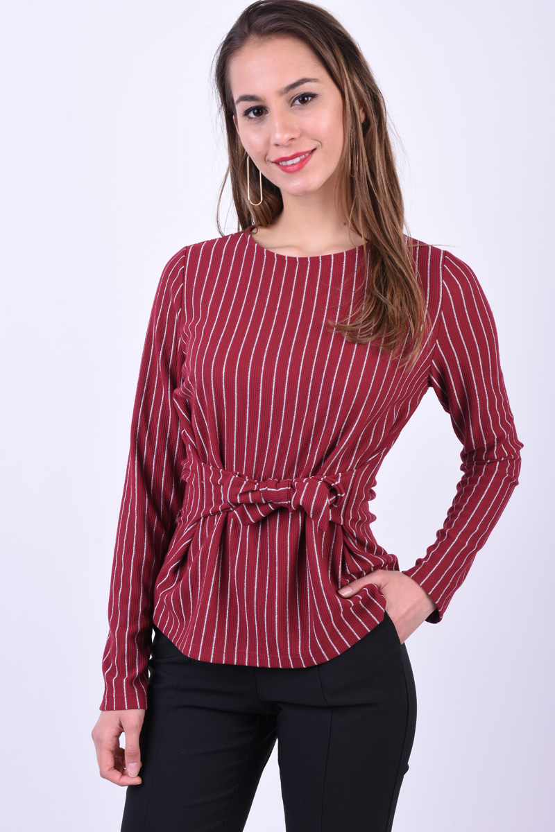 Bluza PIECES Oriak Tie Rosu Inchis