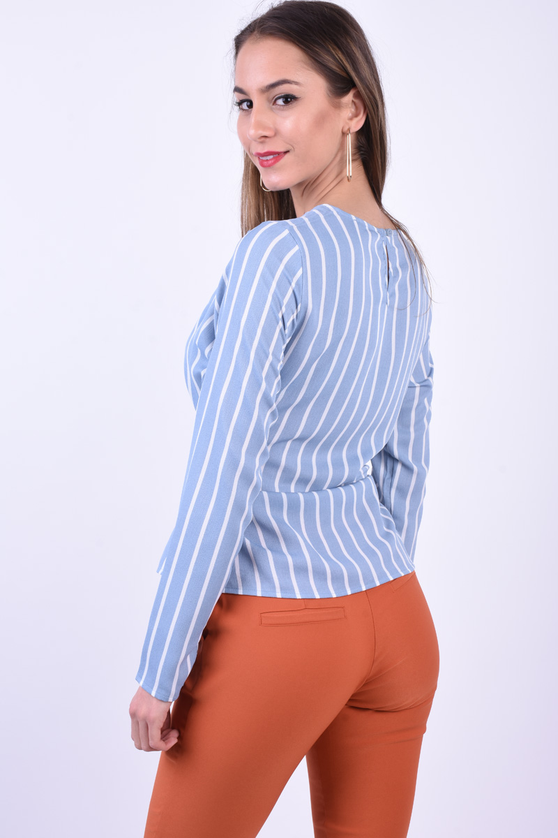 Bluza PIECES Gail Tie Ashley Bleo Deschis