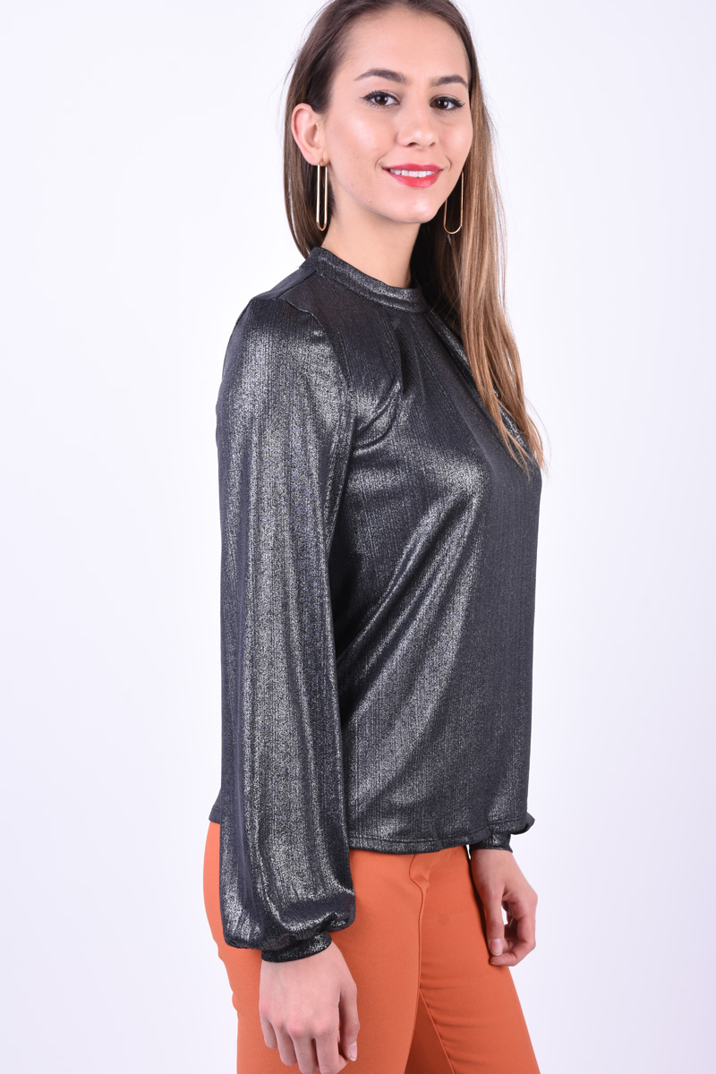 Bluza Eleganta PIECES Beatrice T-Neck Argintiu Inchis