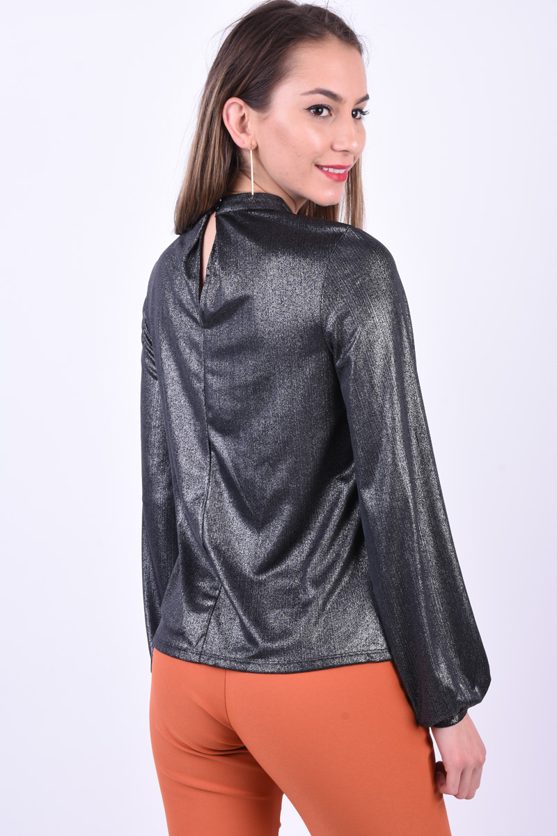 Bluza Eleganta PIECES Beatrice T-Neck Argintiu Inchis