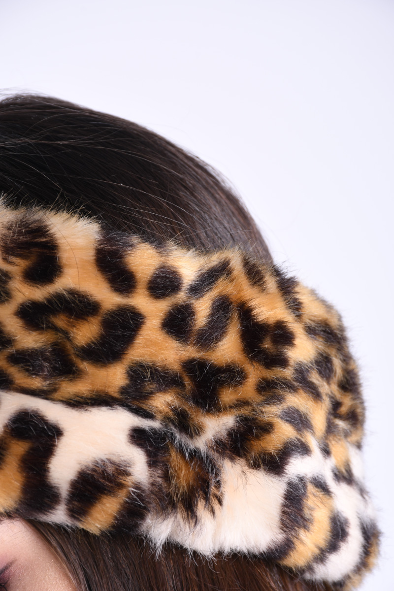 Canadiana Pufoasa PIECES Fur Leopard Print