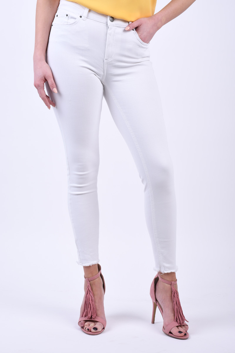 Blugi PIECES Delly Skinny B300 Alb