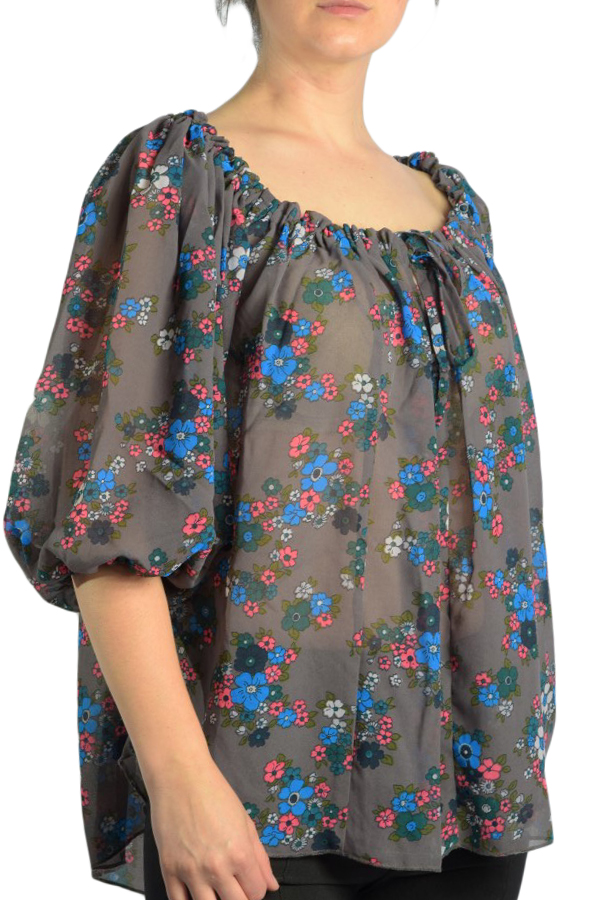 Bluza Vascoza Maneca Scurta Saint Tropez Cream Flower Grey Blue Flower