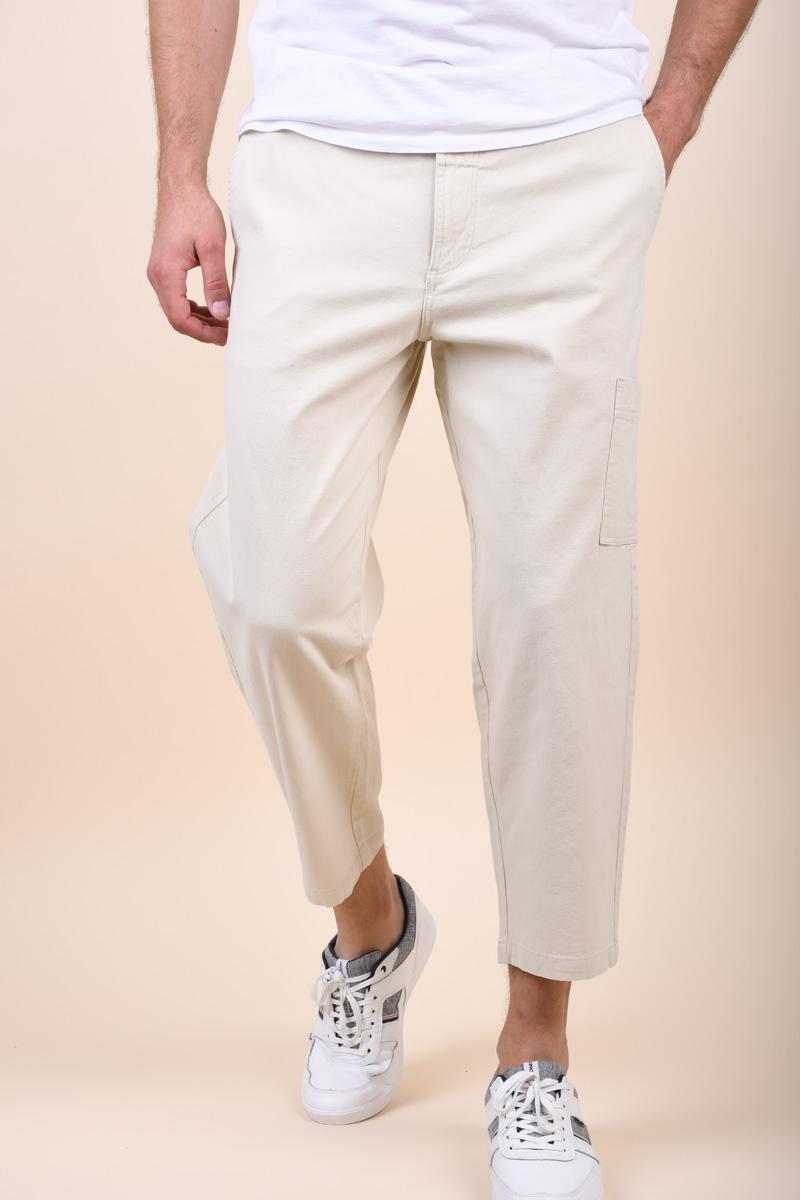 Pantaloni SELECTED Chase Crop Bone White