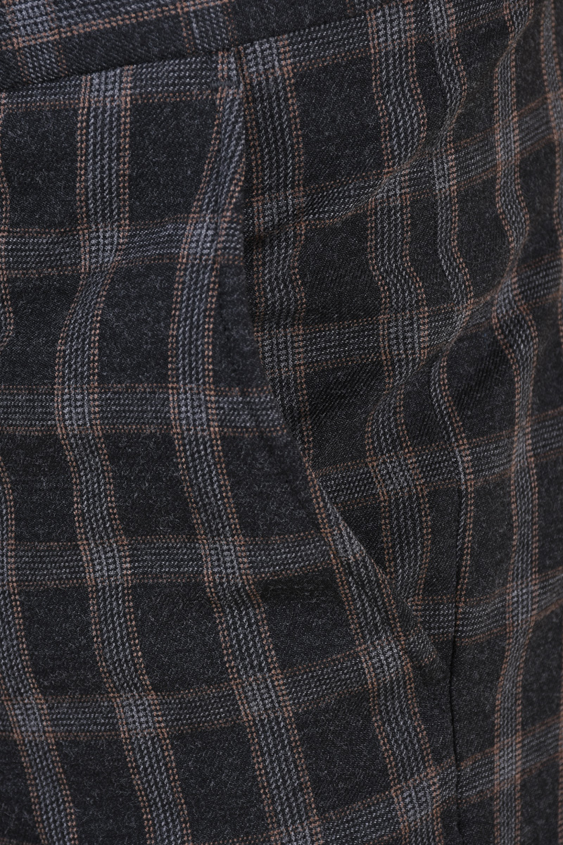 Pantaloni SELECTED Mylogan Grey Grey Checks Brown