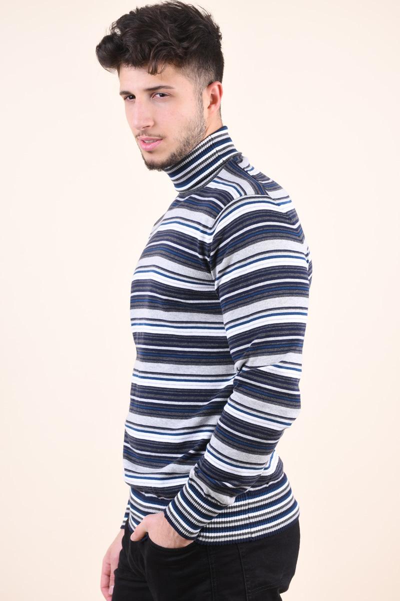 Pulover Pe Gat SELECTED Caspar Stripes Maritime Blue Bright White