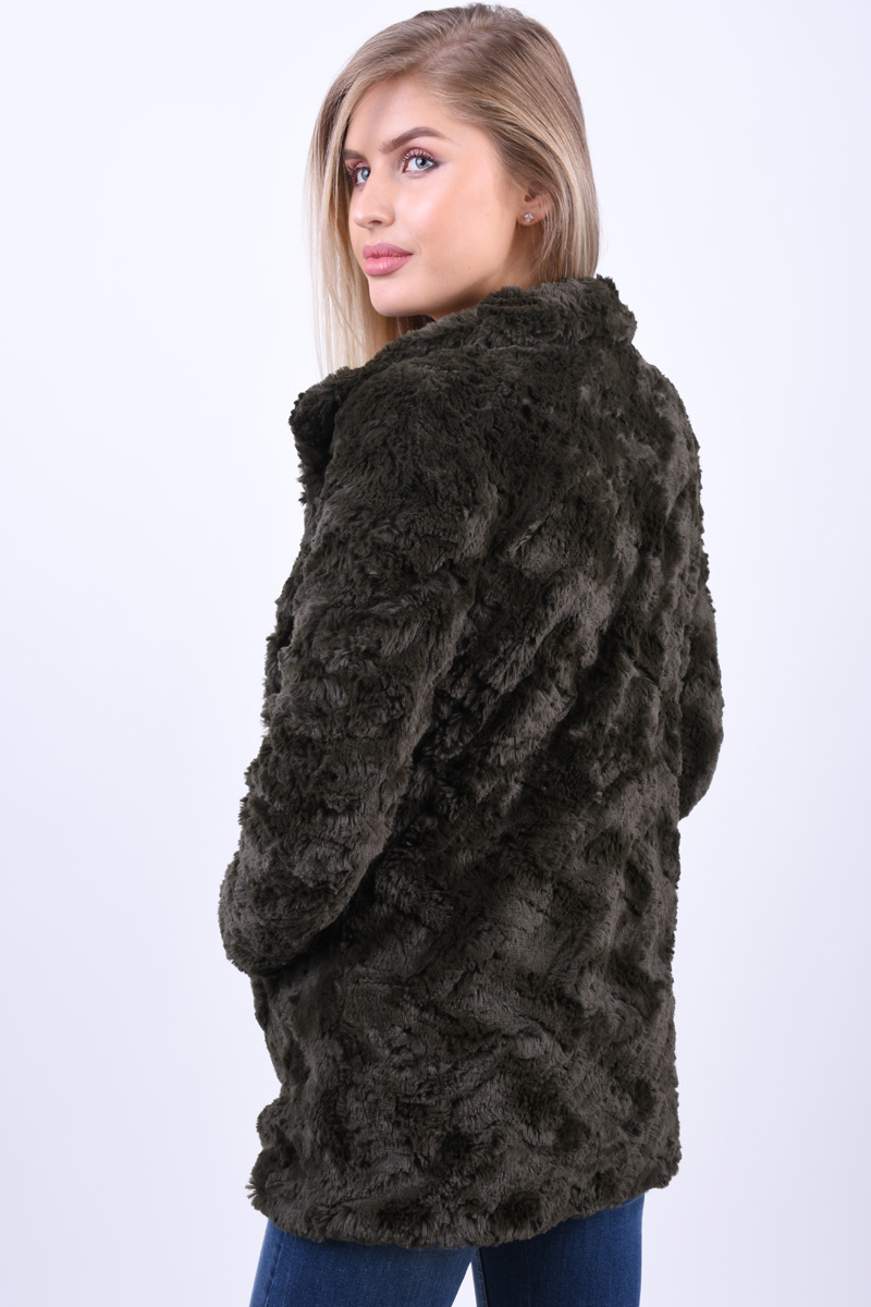 Geaca Pufoasa VERO MODA Curl High Neck Faux Fur Peat