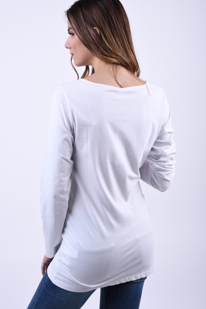 Bluza Lunga VERO MODA Maxi U-Neck Alb