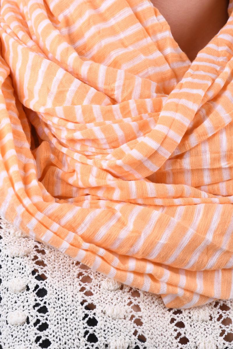 Esarfa VERO MODA Wp Spring Lines Tube Scarf Peach Cobbler