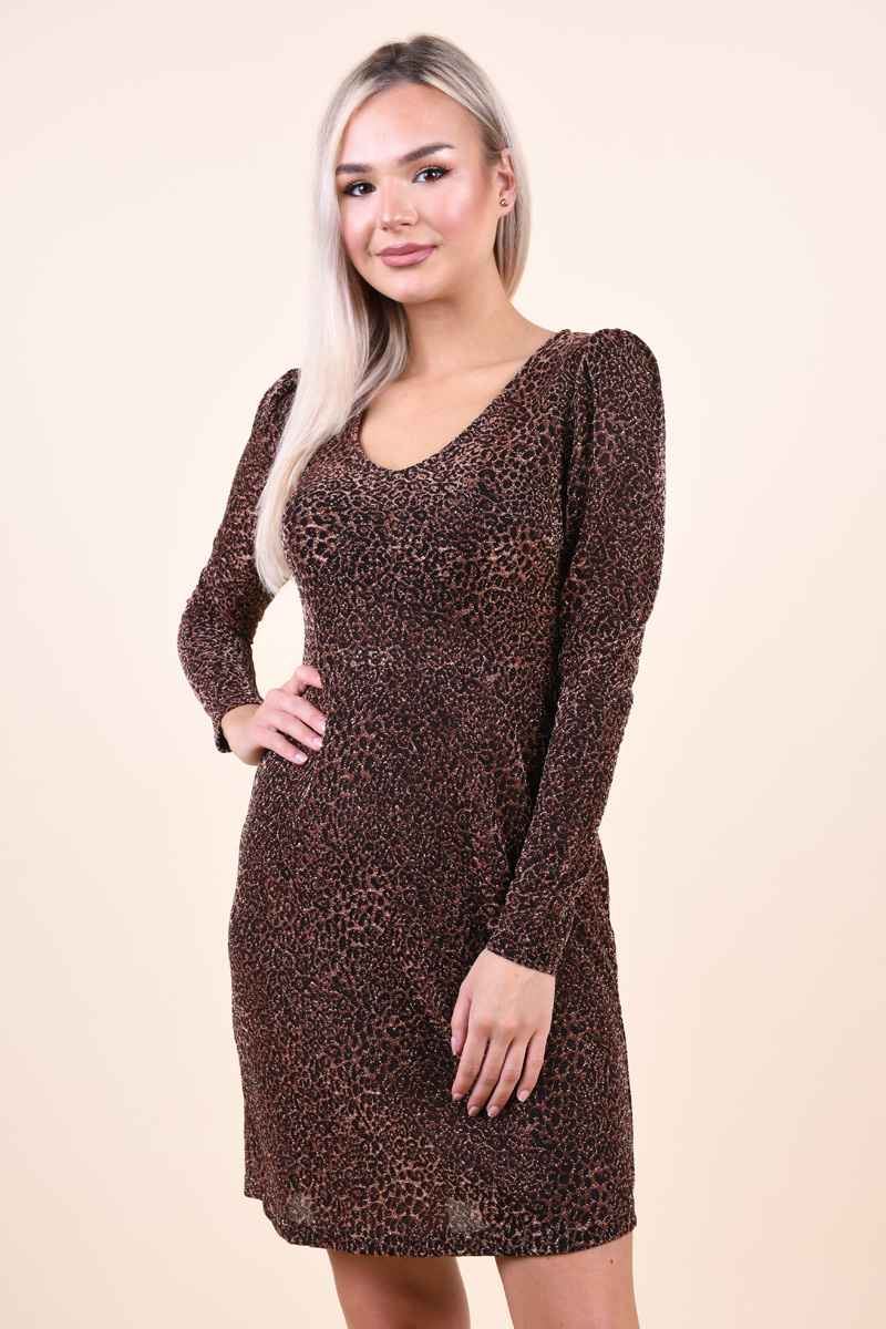 Rochie Lurex VERO MODA Audria V-Neck Negru Leopard