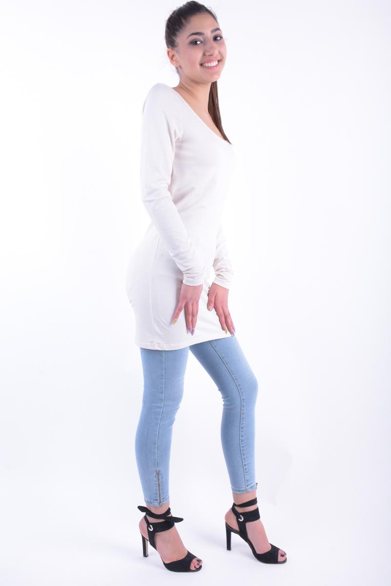 Bluza Bumbac Lunga VILA Officiel Roz Pal