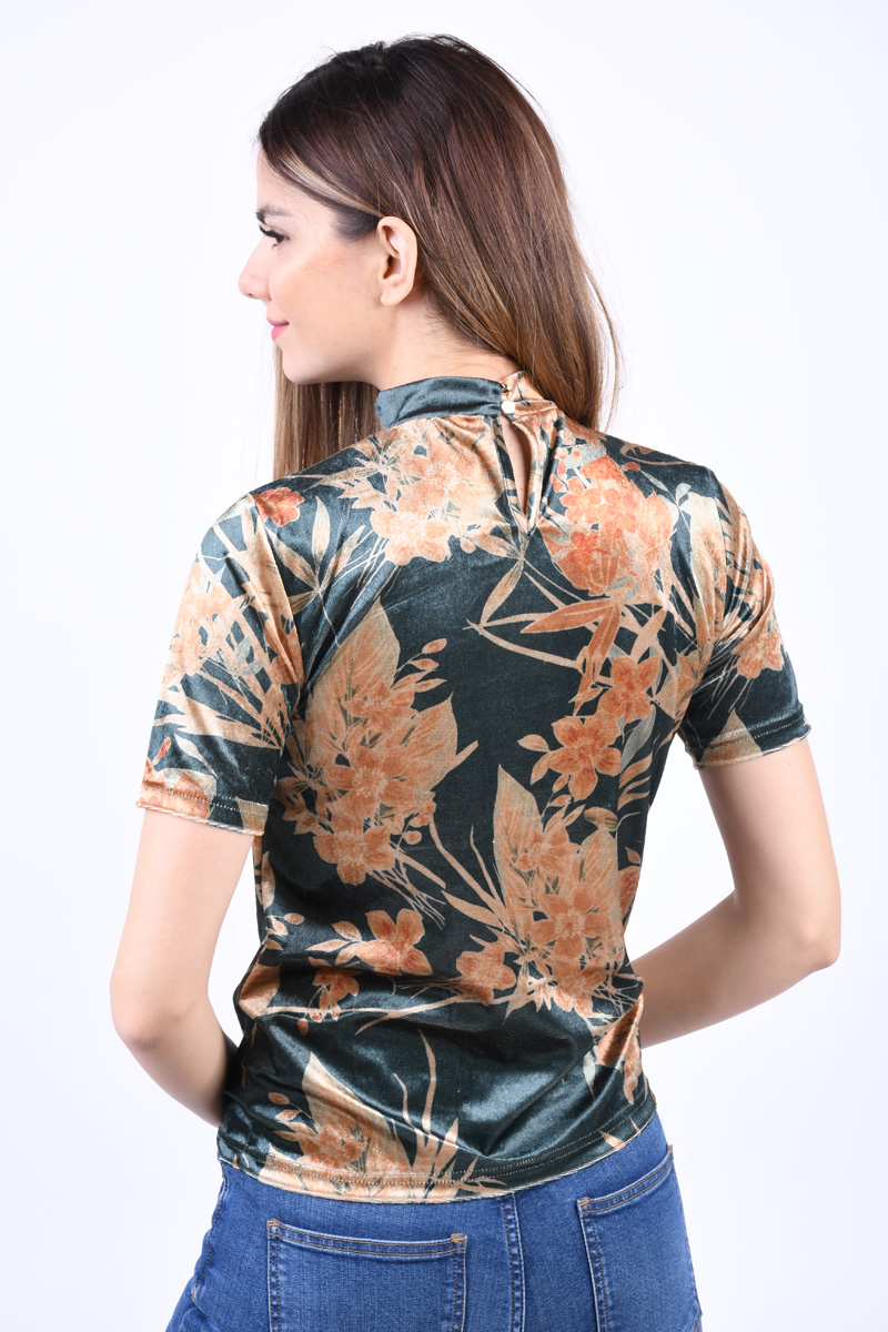 Bluza VILA Kaitlin High Neck Pine Grove/Flower