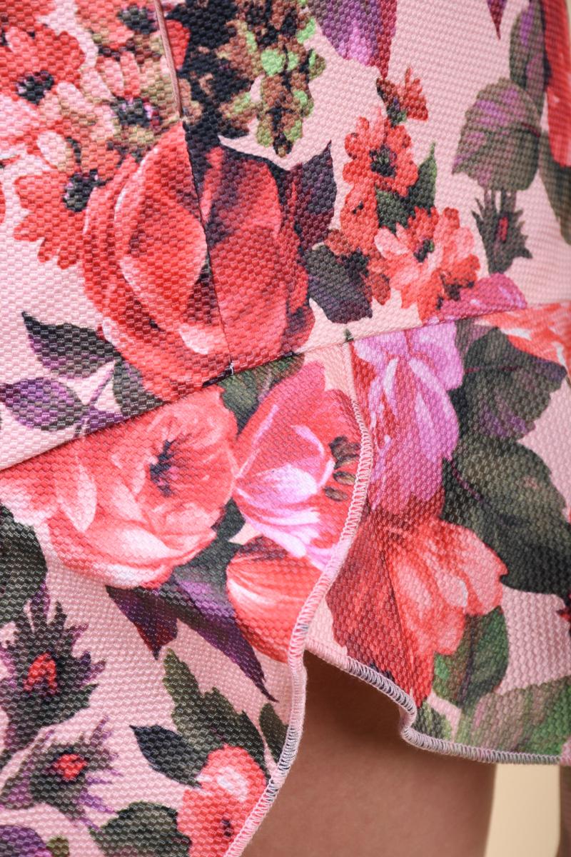 Fusta Florala VILA Bara Peach Multicolor