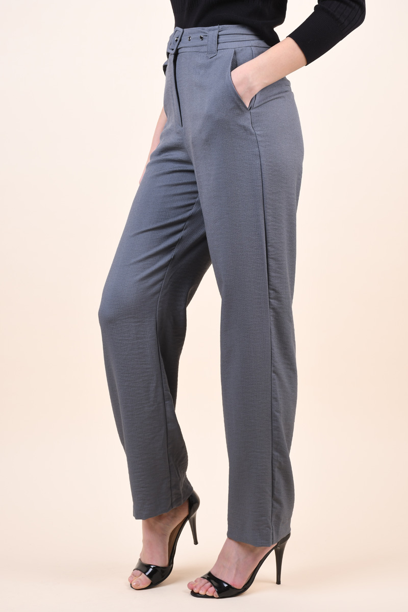Pantaloni VILA Melisa Medium Grey Melange
