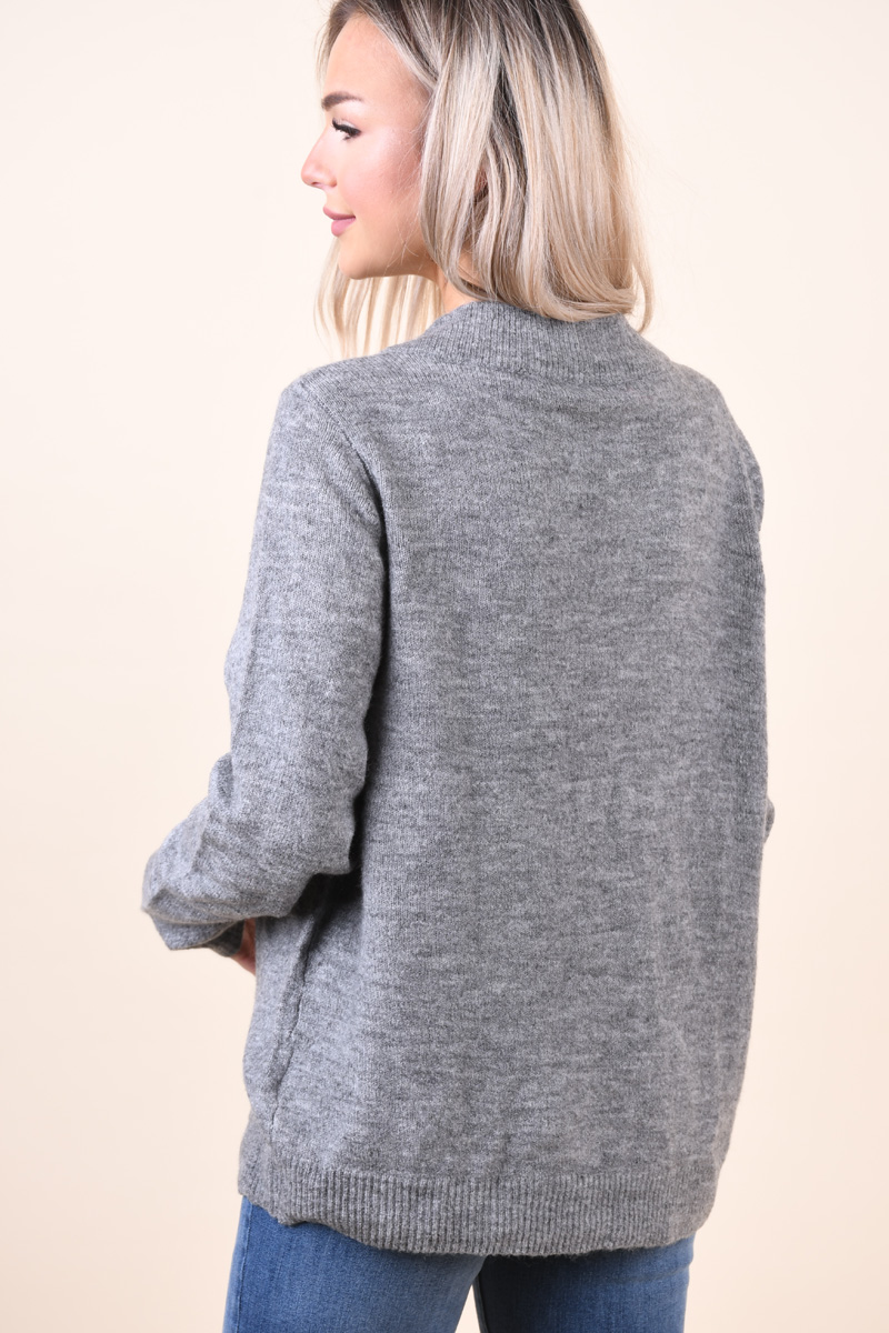 Pulover VILA Esha V-Neck Medium Grey Melange
